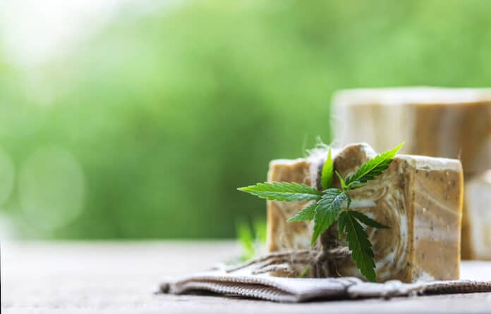 Natural handmade soap bars with cannabis. Spa organic soap. Bars of homemade soap. Selective focus