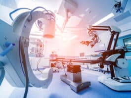 Modern equipment in operating room. Medical devices for neurosurgery. Background