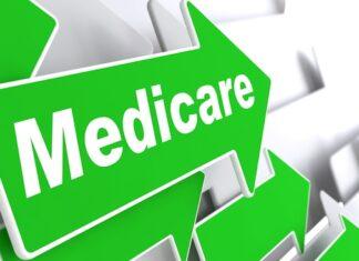 "Medicare - Medical Concept. Green Arrow with ""Medicare"" Slogan on a Grey Background. 3D Render."